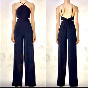 Jay Godfrey Black Halter Side Cutout Jumpsuit